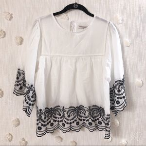 MISS KELLY WHITE BLOUSE WITH EMBROIDERED DETAIL